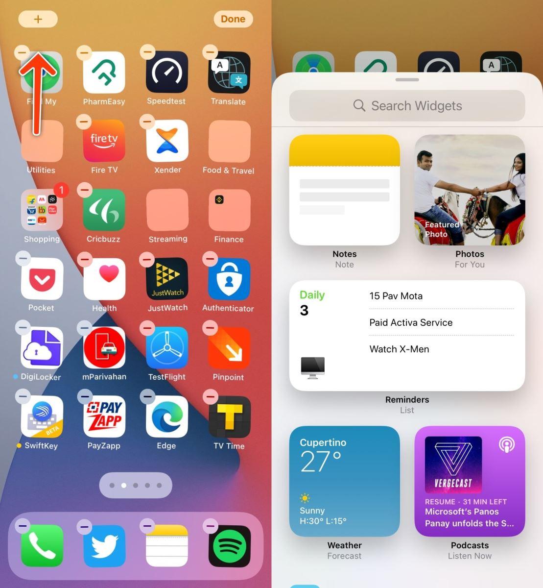 Thêm Widgets vào màn hình chính của iPhone
