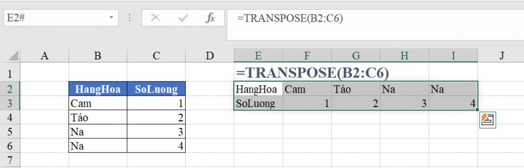 Sử dụng hàm TRANSPOSE