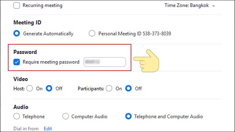 Đặt mật khẩu cho meeting