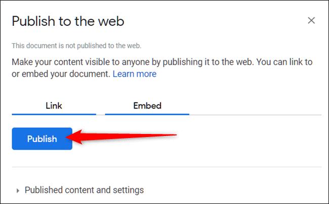 Click vào Publish trên Google Docs