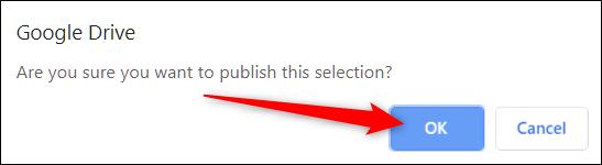 Click Ok để xác định muốn xuất bản file Sheets lên web