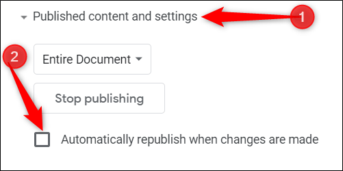 Click vào Published Content and Settings