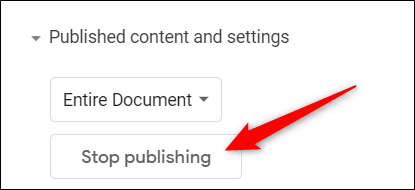 Click vào Stop Publishing để dừng xuất bản file Sheets lên web