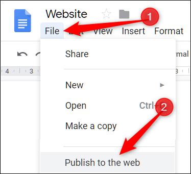 Click vào Publish to the Web để xuất bản file HTML