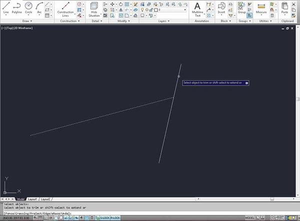 Lệnh Extend dùng để kéo dài đường thẳng này đến một đường thẳng khác