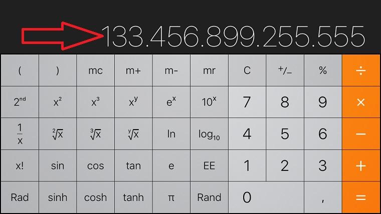 Xóa nhanh con số trong ứng dugj máy tính