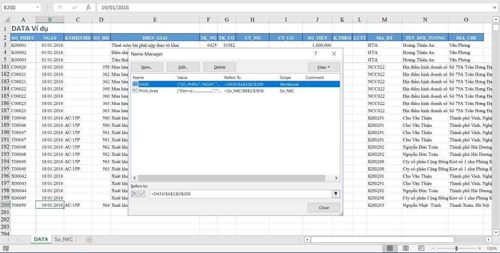 Lập sổ cái bằng hàm HeoSQL