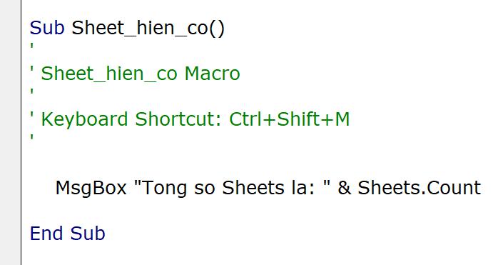 Tạo phím tắt để đếm số lượng Sheet