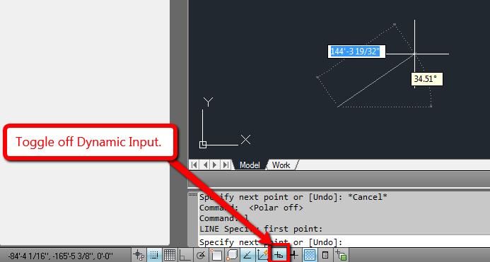 Tắt Dynamic Input đối với AutoCAD phiên bản cũ