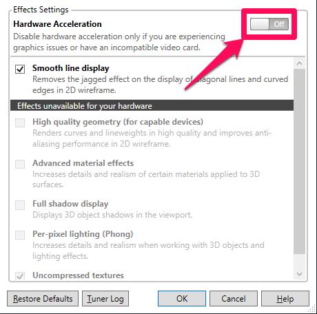 Kéo nút hiện chữ Off để tắt Hardware Acceleration
