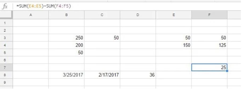 Dùng hàm SUM để trừ các tổng cho nhau