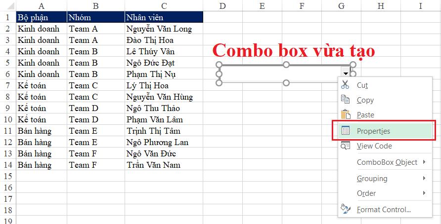 """Developer >Insert > Combobox (ActiveX Control)"""" src=""""https://hocz.net/wp-content/uploads/2021/07/huong-dan-tao-danh-sach-khong-co-gia-tri-trung-trong-combobox_60e65b56c12a0.png""""></p> <p>Sauđó chúng ta vẽ ra trong Sheet 1 Combo Box, có thểđặtở bất kỳ sheet nào. Trong ví dụ này chúng ta sẽđặt tại Sheet1 – là nơi chứa danh sách cần nạp cho Combo Boxđể dễ hình dung.</p> <p>Sau khi tạo ra Combo Box, chúng ta tìm hiểu một số thiết lập cơ bản trong Combo boxbằng cách click chuột phải vào combobox và chọn Properties</p> <p><img alt="""