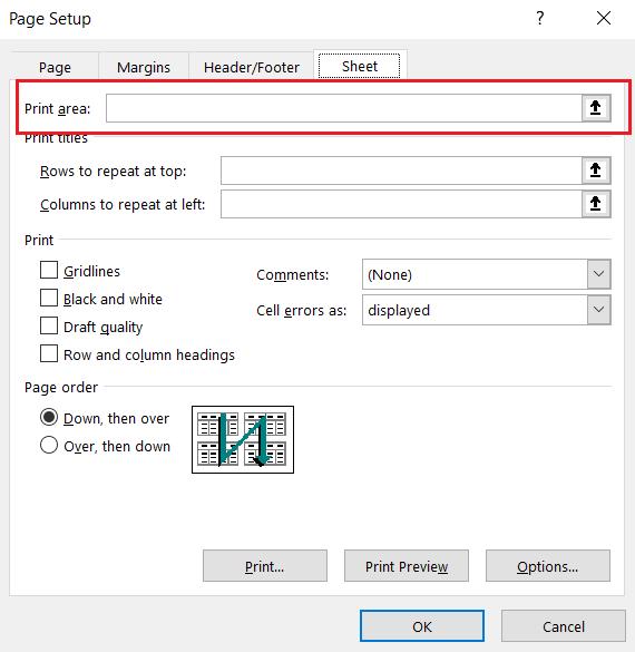 Thay đổi vùng in tự động trong Excel