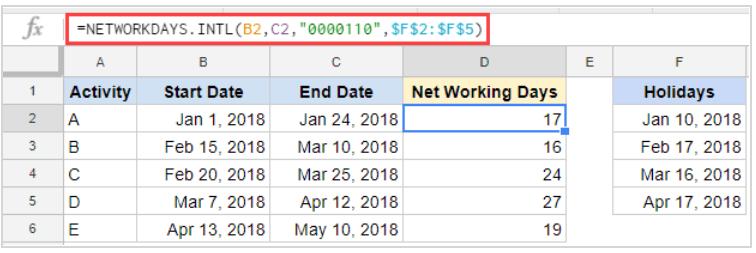 Công thức tính số ngày giữa hai thời điểm sử dụng hàm NETWORKDAYS