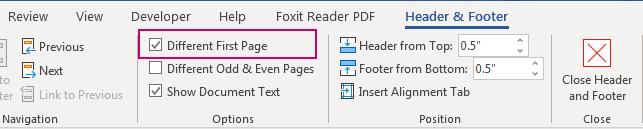 Tick vào ô Different First Page