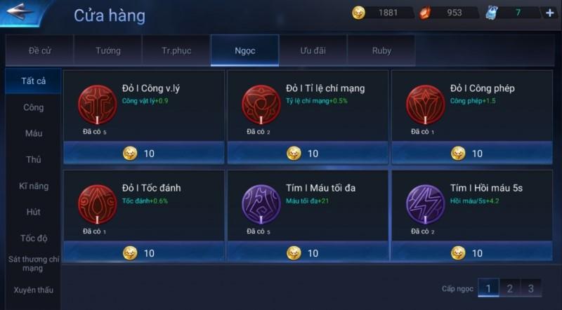 Bảng ngọc trong game