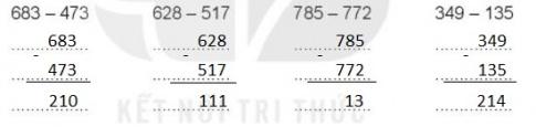 [KNTT] Giải VBT Toán 2 bài 61: Phép trừ (không nhớ) trong phạm vi 1000