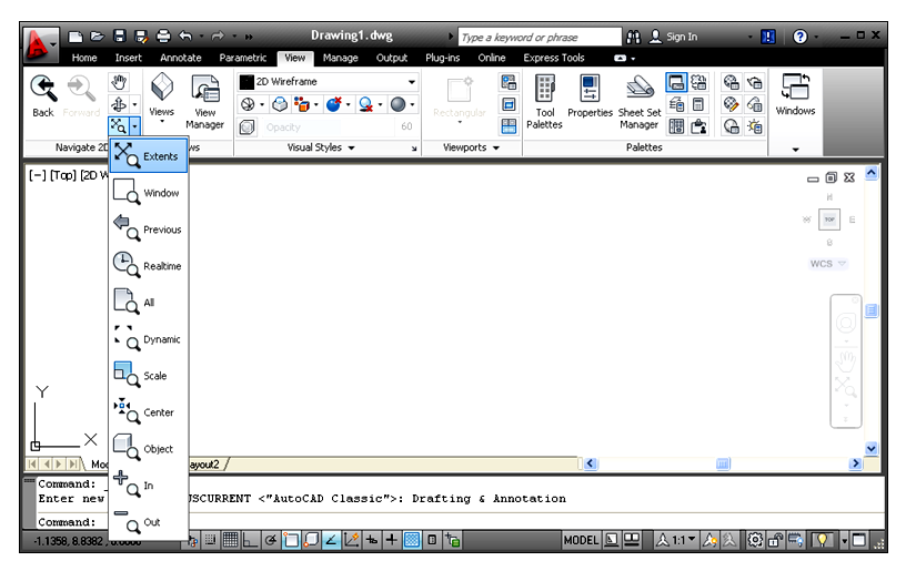 Các lựa chọn lệnh Zoom khi màn hình ;àm việc ở Ribon