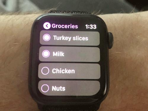 Sử dụng Apple Watch để tạo danh sách mua hàng