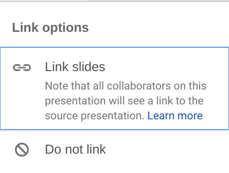 Liên kết slide bằng Google Slides