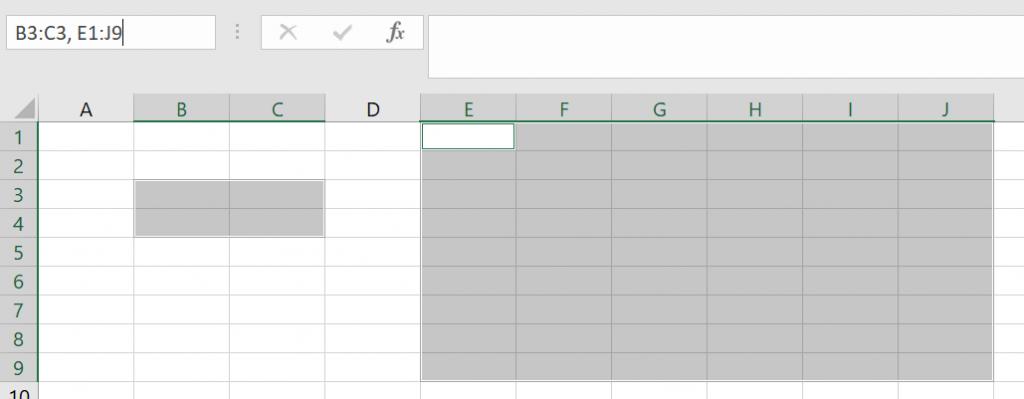 Chọn nhiều vùng bằng Name Box