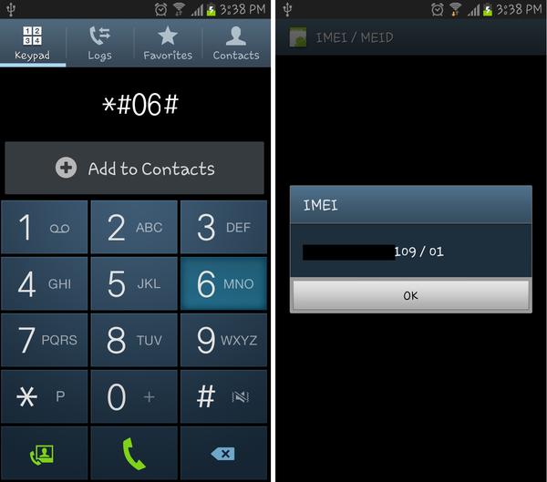Số IMEI điện thoại sẽ xuất hiện khi thực hiện gọi đến số như trên hình