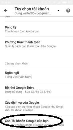 Chọn Xóa tài khoản Google