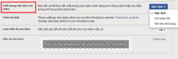 Giao diện mục cài đặt Video