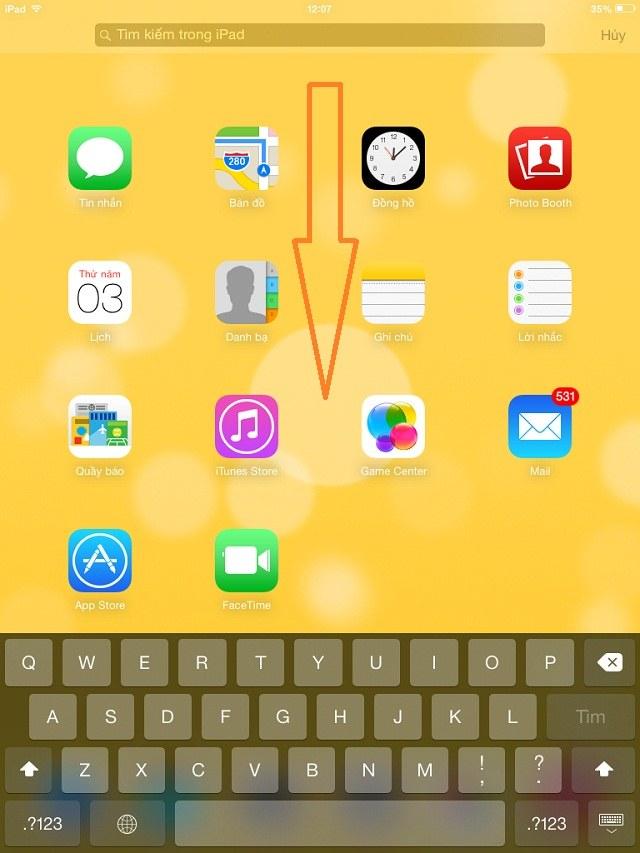 Chỉ việc kéo xuống là bạn đã có thể mở chức năng tìm kiếm trên iPad