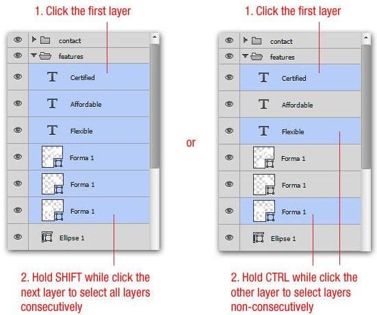 Cách để chọn nhiều layer liên tiếp hoặc không liên tiếp