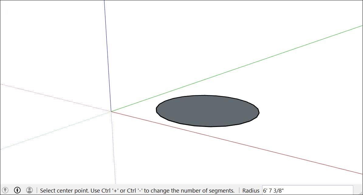 Mặt phẳng hình tròn sau khi hoàn thành thao tác vẽ