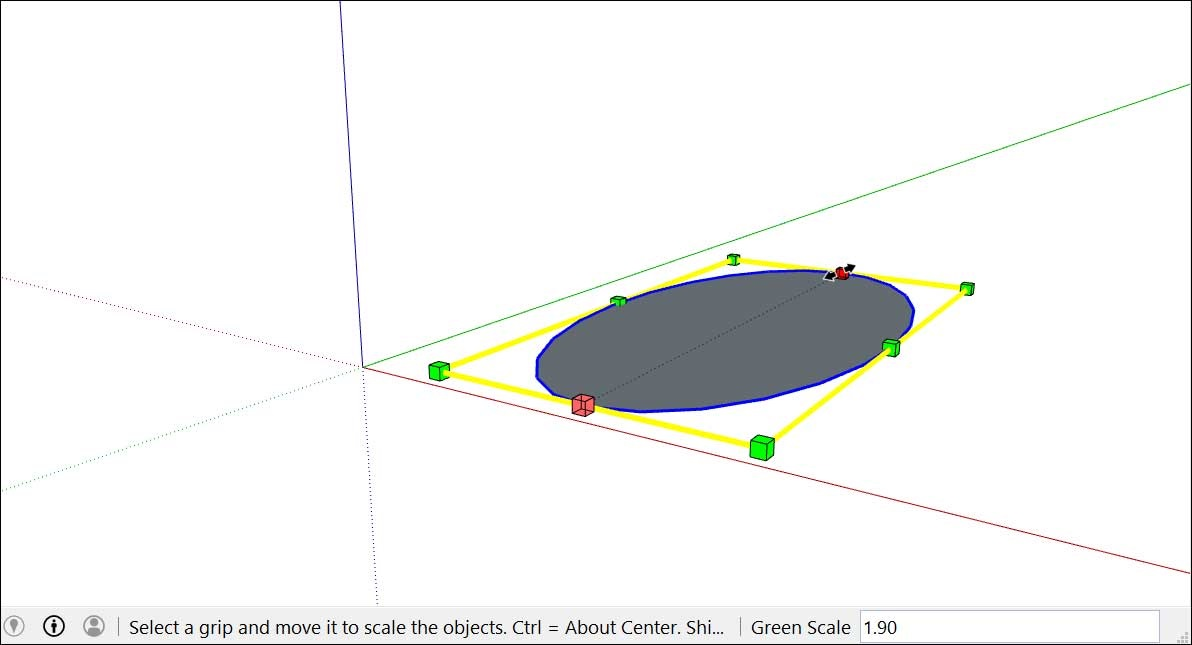 Chọn điểm ở giữa và kéo để tạo hình elip